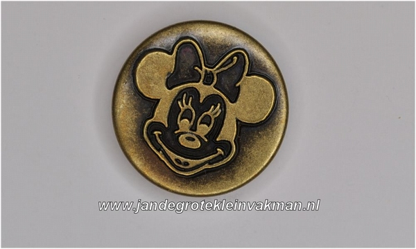 Metalen knoopje bronskleurig ca. 20mm Minnie Mouse