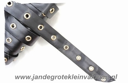 Gaatjesband, kunstleer, 20mm breed, zwart