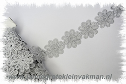 Sier band, margriet motief, zilver lurex 38mm breed,